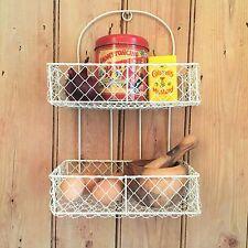 Shabby Chic Shelf Unit French Vintage Cream Storage Basket Display Kitchen Rack