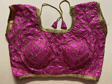 "NEW Readymade Designer Sari Blouse PINK SATIN Gold Embroidery DORI 36"" -USA sell"