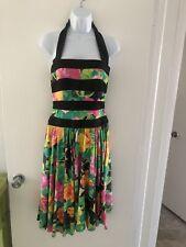 Vintage Lillie Rubin Exclusive Tropical Flowers Halter Dress Euc Size 4