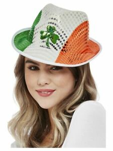 Paddy's Day Irish Flag Sequin Trilby Hat St Patricks Day Adults Fancy Dress Prop