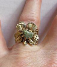 Vtg Celtic Irish Green Connemara Marble 4 Leaf Clover Lucky Goldtone Ring Sz 7½