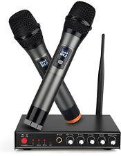 UHF Wireless Microphone System,Frunsi Dual Cordless Handheld Microphone Echo Con