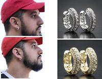 Elegant 925 Silver,Gold Hoop Earring for Women Men White Sapphire Jewelry A Pair