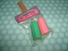 Rare Vintage 1970s Sealed Tombow Pink & Green Petite Pencil erasers gommes