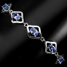 Sterling Silver 925 Genuine Natural Tanzanite & Silver Design Bracelet 7-8 Inch