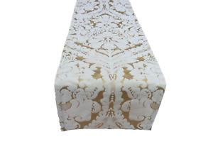 """90"""" Gold Silk Damask designer Christmas table runner Handmade UK"""