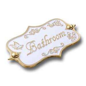 Bathroom Brass Door Sign.  Vintage Shabby Chic Style Home Décor