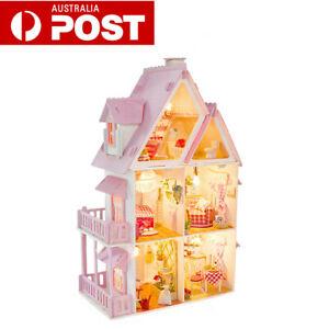 DIY LED Dollhouse Miniature Wooden Furniture Kits Doll LED House Xmas Gift AU