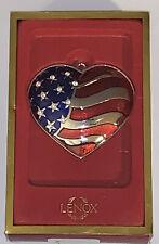 "New listing Lenox ""Heart of America"" American Flag Silver Plated Christmas Ornament -Nib"