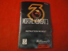 Mortal Kombat 3 Super Nintendo SNES Instruction Manual Booklet ONLY Combat #C1