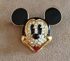Vintage Disney Mickey Mouse enameled jeweled brooch pin Napier head ears
