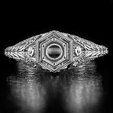 VINTAGE ROUND DIAMOND SETTING ART DECO ENGAGEMENT RING SEMI-MOUNT FILIGREE 14K