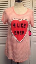 """WILDFOX COUTURE NWT """"4 Like Ever"""" L Pink Whited Striped Heart Tee Top Shirt NEW"""