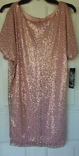 Womens Cold Shoulder Dress Small PINK Sequins NWT Festive Party Sequin Hearts