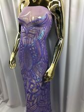 Iridescent Lilac Fabric Embroidered Sequins On A Mesh 4 Way Stretch Prom By Yard