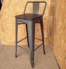 More details for new tolix tarnished metal bar stool solid wood seat retro bistro cafe restaurant