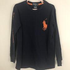 Polo Ralph Lauren Boys Sz 6 Long Sleeve Blue Shirt Big Graphic Orange Pony Logo