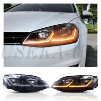 UK DRL LED Headlight For VW Golf7 MK7 13-16 Halogen Sequential Head  Lights RHD