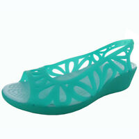 Crocs Womens Adrina III Mini Wedge Sandal Shoes, Tropical Teal/Ice Blue, US 11