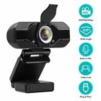 1080P Webcam Auto Focus Camera w/Cover Built in Microphone For PC Laptop Desktop