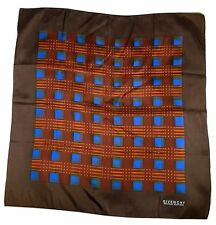 Givenchy Silk Scarf Nouvelle Boutique Brown Blue Orange 22 by 23 Inches