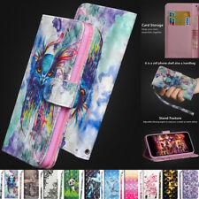 Hot 3D patrones de Cuero Magnético Abatible Billetera De pie Estuche Cubierta Para Iphone Huawei
