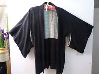 vintage Oriental HAORI silky feel black kimono gown/robe/jacket small or childs