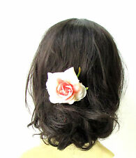 Blush Pink Cream Ombre Rose Flower Hair Comb Bridesmaid Floral Rockabilly 1935