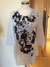 Olsen Top Size 10 BNWT Beige Winter White Black Floral Print RRP £59 Now £27