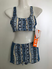 TanThru Bikini Durchbräunend Blau Panty Dschungel Tankini 38 B US M Solar Neu