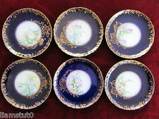 Set of 6 Handpainted Limoge Cabinet Plates by Charles Field Haviland Cobalt/Gold