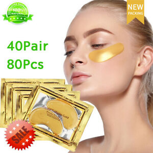 80Pcs Under Eye Mask 24K Gold Collagen Under Eye Patches Anti-Aging Dark Circle
