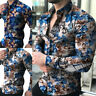 Men Floral Long Sleeve T-shirt Formal Casual Slim Fit Shirt Blouse Tops New 20%P