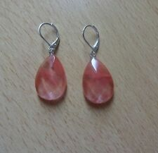 CHERRY QUARTZ faceted gemstone drop  EAR RINGS St Silver Gift wrapped