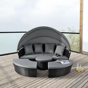 Sonneninsel Sonnenliege Sitzgruppe Gartenmuschel Garnitur Lounge Polyrattan