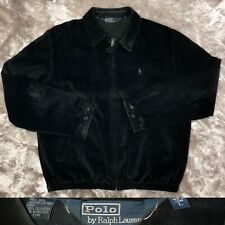 Vintage 1990's POLO Ralph Lauren Genuine Black Leather Suede Harrington Jacket L