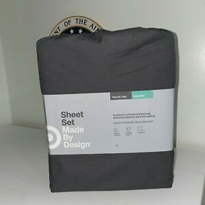 Easy Care TWIN / TWIN XL Sheet Set FLAT GRAY Wrinkle Resistant