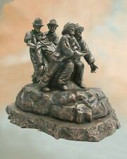 First From The Flames Fireman Faux Bronze Firefighter Statue -- Great Gift NIB