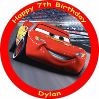"CARS LIGHTNING MCQUEEN EDIBLE 8"" PERSONALISED BIRTHDAY CAKE TOPPER"