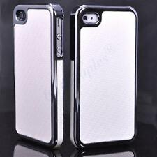 New White Deluxe Carbon Fibre Hard Back Chrome Case for iPhone 4S 4