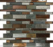 SAMPLE- Metallic Brown Glass Natural Stone Mosaic Tile Wall Kitchen Backsplash