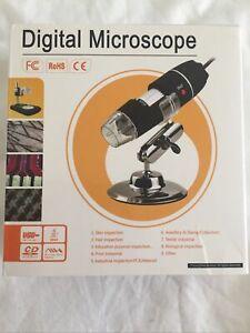 1600X USB Zoom 8 LED Microscope HD Digital Magnifier Endoscope Camera w/ Stand