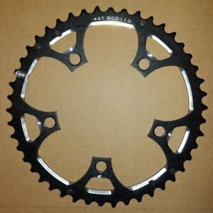 Lasco 46T 110 BCD 5 Bolt Alloy Outer Chainring 10/11 Speed - Black
