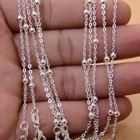 """5pcs Lots Necklace Silver plated Ball link Chain 16-30"""" New"""