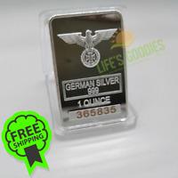 NEW German 999 Flying Eagle Steel Plate Metal Bar WW2 Iron Cross Collection 1 OZ
