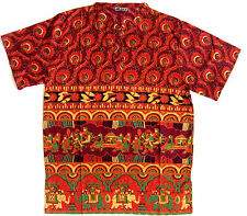 Damen Folklore Bluse Hippie Goa Ethno Boho Nepalbluse bluse rot gemustert  38/40