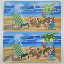 Pair of Melamine Trays Ocean View Beach Chair Palm Tree Sale Boats 14 x 7 1/2