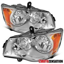 For 2011-2018 Dodge Grand Caravan Clear Lens Headlights Lamps Parking Pair