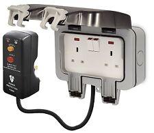Masterplug Kit de potencia al aire libre con casquillo 2g IP66 conmutadas/3 M de cable/RCD Plug