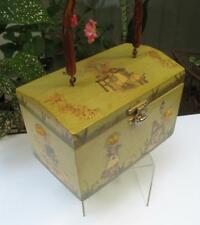 1970's Holly Hobbie Wood Decoupage Purse Wooden Box Purse Bamboo Style Handle